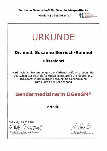 Urkunde Gendermedizinerin B